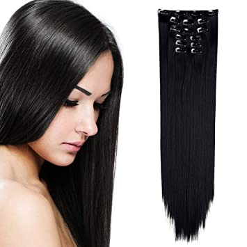 OneDor 24quot Straight Full Head Clip In Synthetic Hair Extensions 7pcs 140g 1B