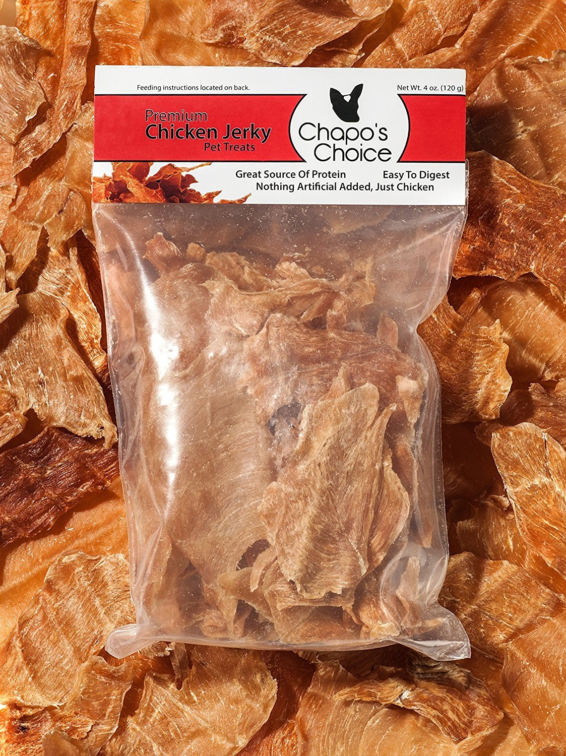 Jerky Dog Treats from Chapo s Choice – 100 Chicken – USA Made Zero Fillers – 4 Oz. Protein Packed