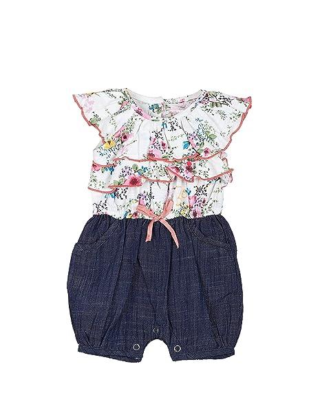 fccc784da1a Buy My Lil  Berry Multicolor Floral Flutter Sleeves Denim Baby Girls Romper  for Infants