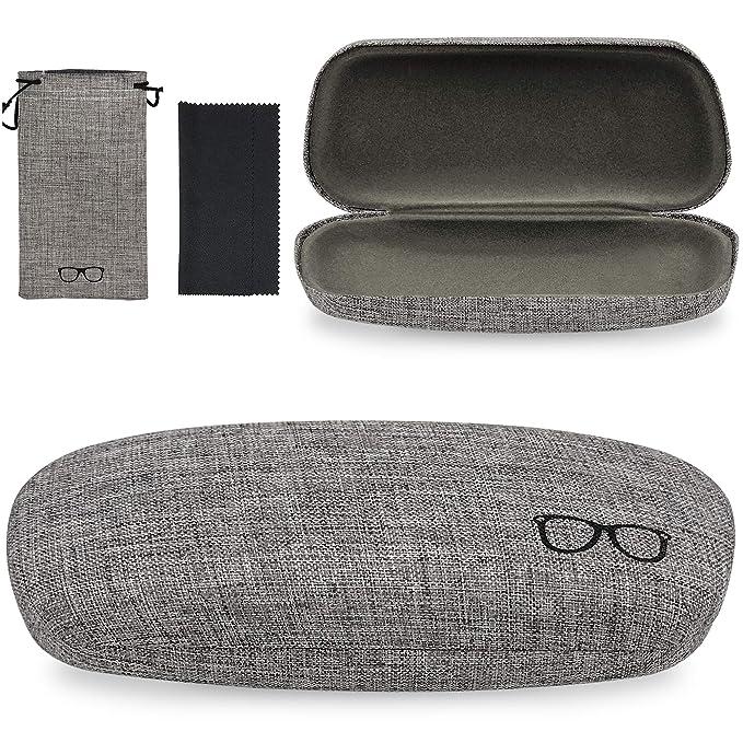 Amazon.com: Yulan carcasa funda de anteojos, tela de lino ...