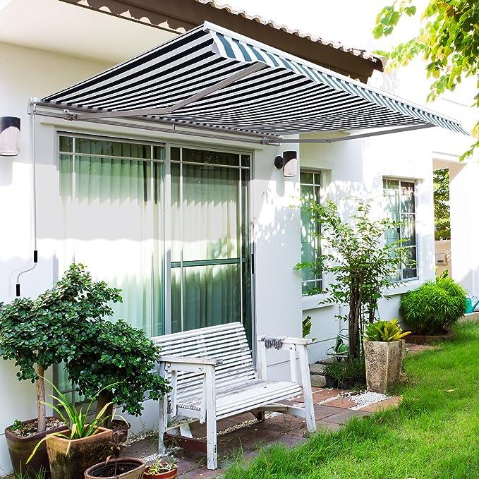 Outsunny Toldo Manual Plegable de Aluminio Ángulo Ajustable Manivela para Exterior Balcón Jardín Terraza 3.5x2.5m Aluminio