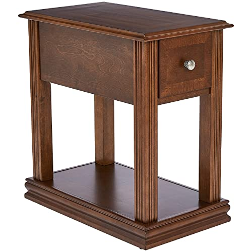 Ball Cast Virginia Rectangular Wood End Table with Drawer, Brown Spice