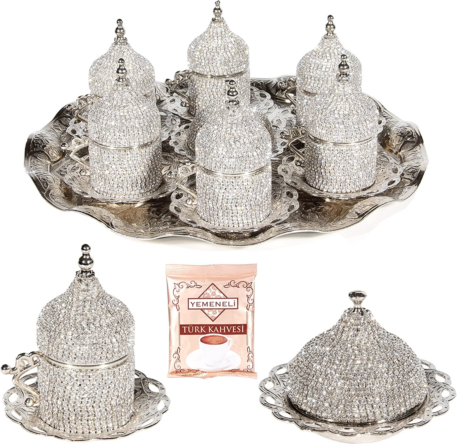 27 Pc Turkish Greek Arabic Coffee Espresso Cup Saucer Swarovski Crystal Set SILVER