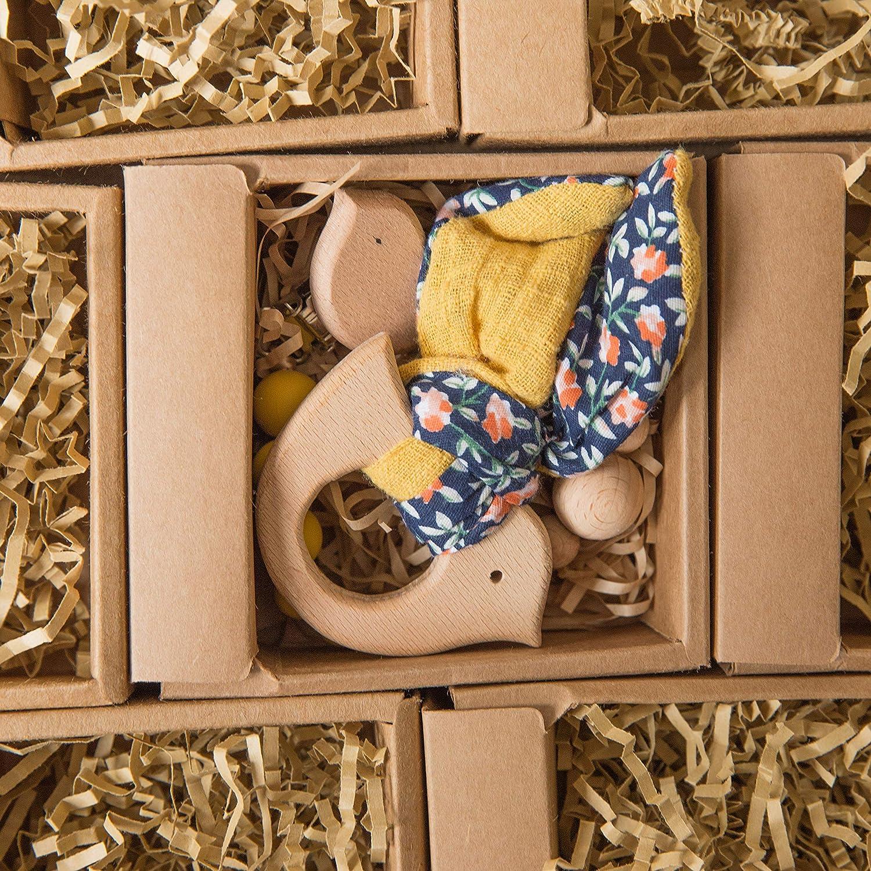 Mamimami Home 2PC B/éb/é En Bois Lapin Jaune ours Anneau De Dentition En Silicone Perles En Bois Oiseau Clip T/étine Jouets Montessori