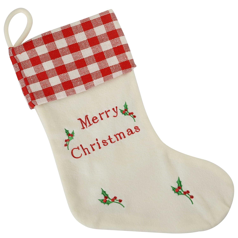 WeRChristmas Chaussette de No/ël Broderie Merry Christmas Cr/ème//dor/é 48/cm