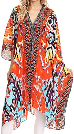 4826b96f12a4a Sakkas Libra Mid Length Caftan Dress/Cover Up with Tribal Print/Rhinestones