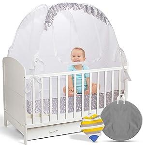 LA CHUPETA Crib Pop Up Tent - Safety Net Canopy Cover Protect Baby from Crib Rails, Falls and Mosquito Bites - See Through Mesh w/Decorative Border - Sturdy - Unisex - Bonus Bib with Teething Corner