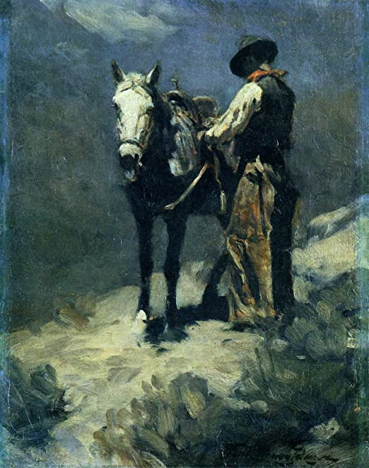 Into the Night  by Frank Tenney Johnson   Giclee Canvas Print Repro