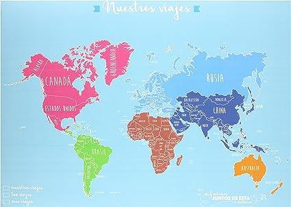MuguetShop 10005 - Mapamundi con alfileres para parejas, multicolor: Amazon.es: Oficina y papelería