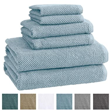 Great Bay Home 6-Piece 100% Cotton, Quick-Dry Textured Towel Set. Ultra-Absorbant, Popcorn Weave. Acacia Collection. (6pc Set, Sterling Blue)