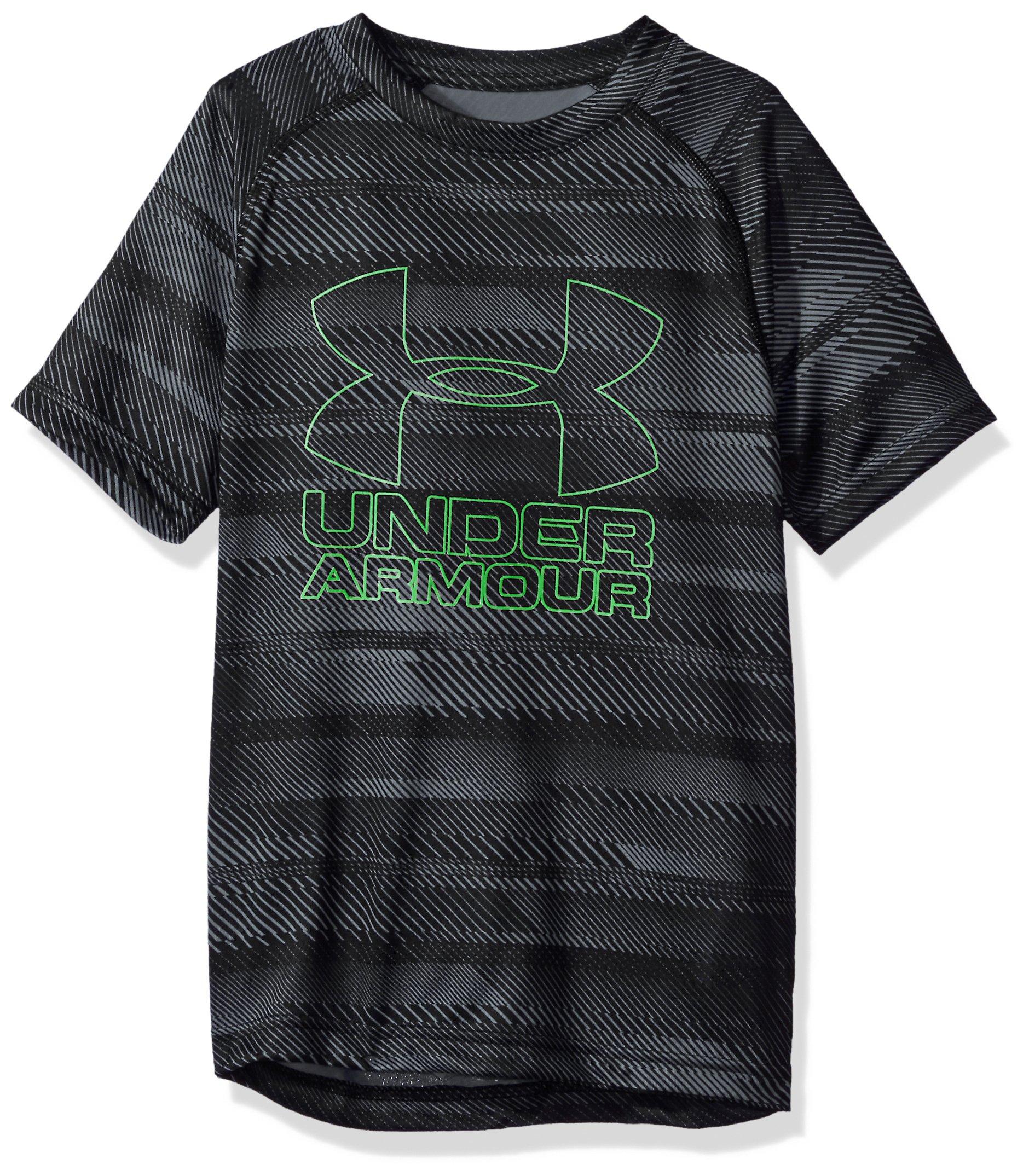 Under Armour Boys Big Logo Printed T-Shirt,Black /Lime Twist, Youth X-Small
