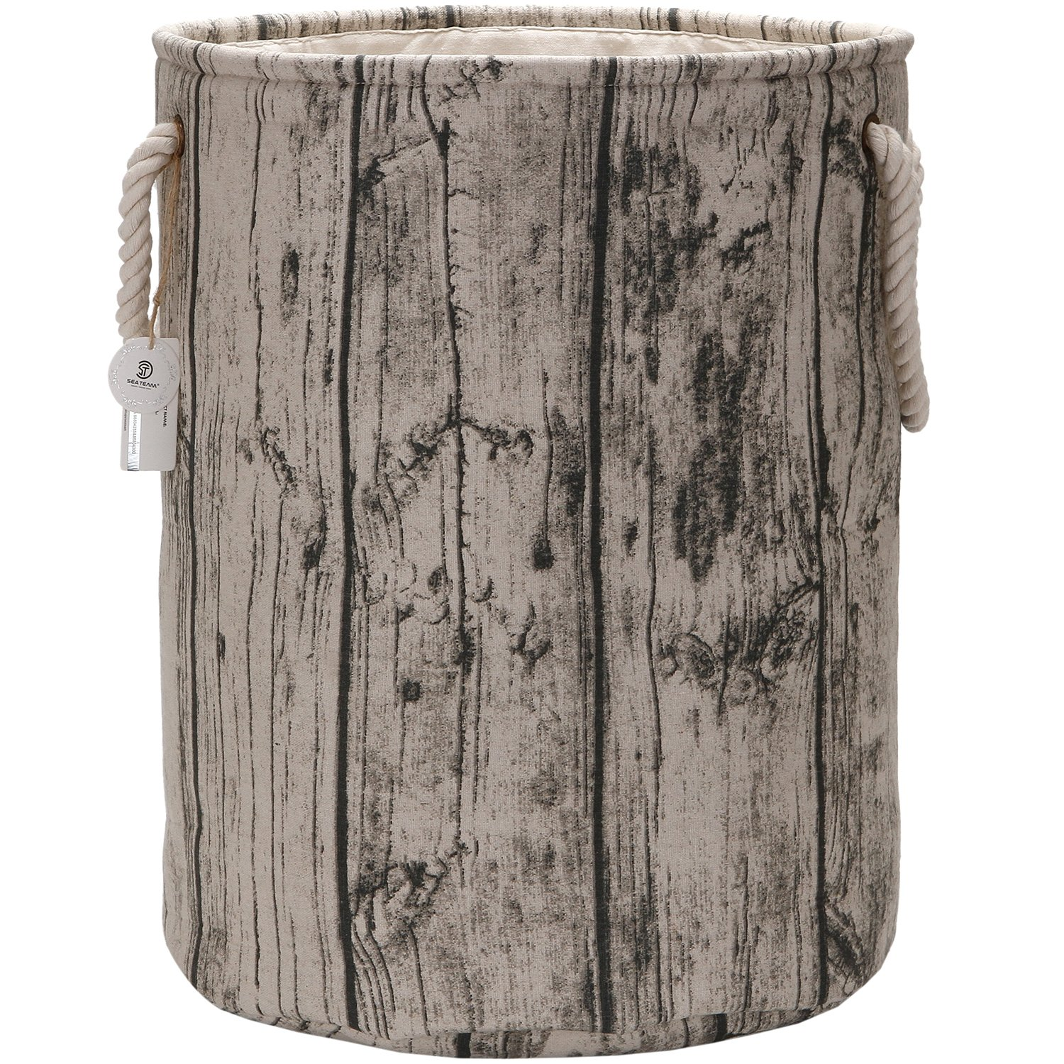 Sea Team 19.7 Large Size Stylish Tree Stump Wood Grain Canvas & Linen Fabric Laundry Hamper Storage Basket with Rope Handles, Walnut