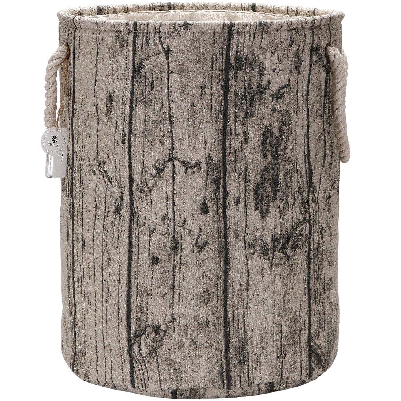 Sea Team 19.7'' Large Size Stylish Tree Stump Wood Grain Canvas & Linen Fabric Laundry Hamper Storage Basket with Rope Handles, Birch