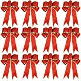 WILLBOND 12 Pieces Glitter Christmas Bows Christmas Wreath Bow Christmas Tree Ornaments Bows for Christmas Party Decoration
