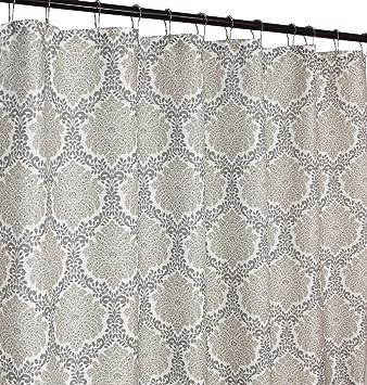 Amazon.com: Cortina de ducha de tela de color beige y blanco ...