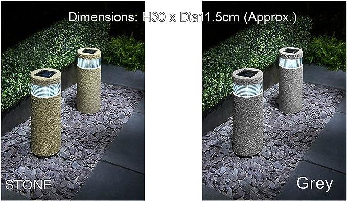 Efecto de piedra nueva Baliza (funciona con energía solar luces jardín decoración blanco LED luz – 2PK: Amazon.es: Iluminación