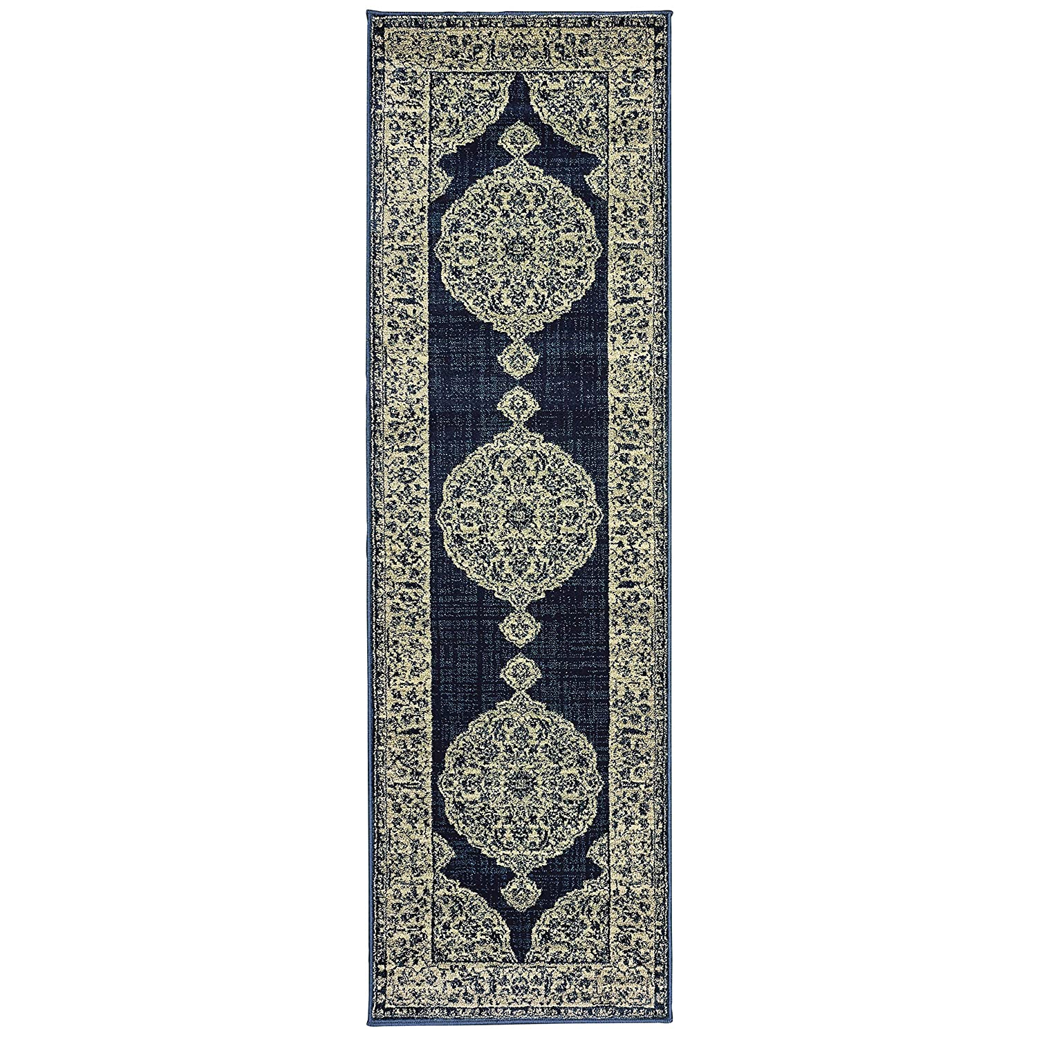 Christopher Knight Home CK-A7397 Lexington Medallion Indoor Runner 2ft 3in X 7ft 6in Navy Grey