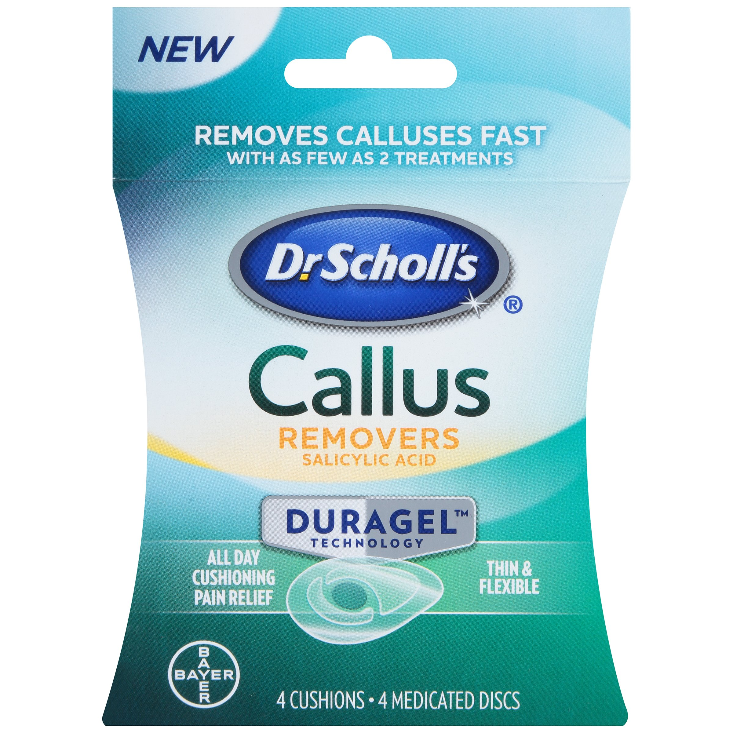 Dr. Scholl's CALLUS Removers with Duragel Technology, 4ct (One Size) // Removes Calluses Fast and Provides All-Day Cushioning Pain Relief