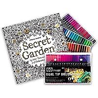 مجموعة سبيتا مكونة من 60 قلم تلوين بألوان مائية نابضة بالحياة مع كتاب تلوين للأطفال والكبار - 96 صفحة من ذا سيكريت جاردن…