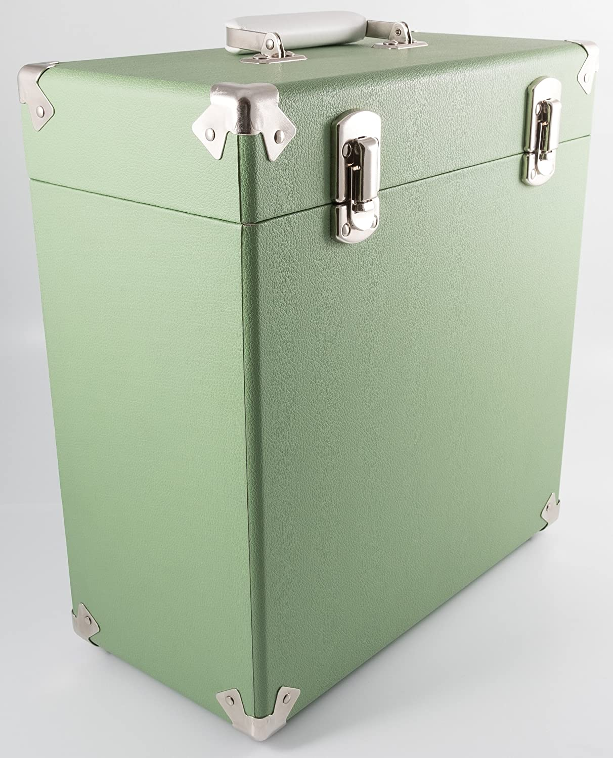 GPO Retro-Style Portable Carry Case for LPs Albums and 12-inch Vinyl Records Green