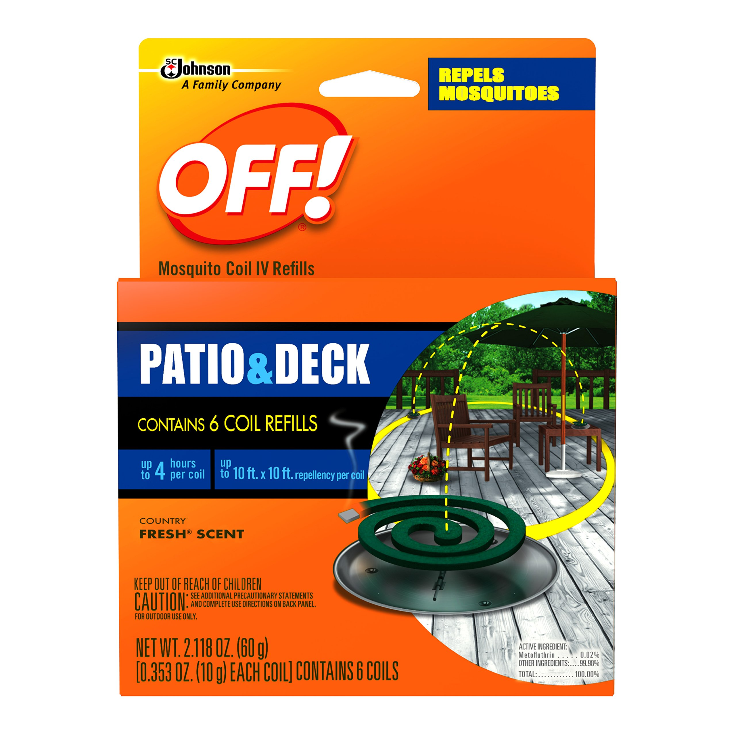 OFF! Backyard Mosquito Repellent Coil Refills, Perfect for Outdoor Patios Country Fresh Scent, 6 Count