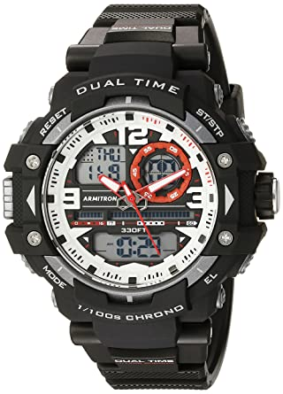 b11867905 Armitron Sport Men's 20/5062RED Red Accented Analog-Digital Chronograph  Black Resin Strap Watch