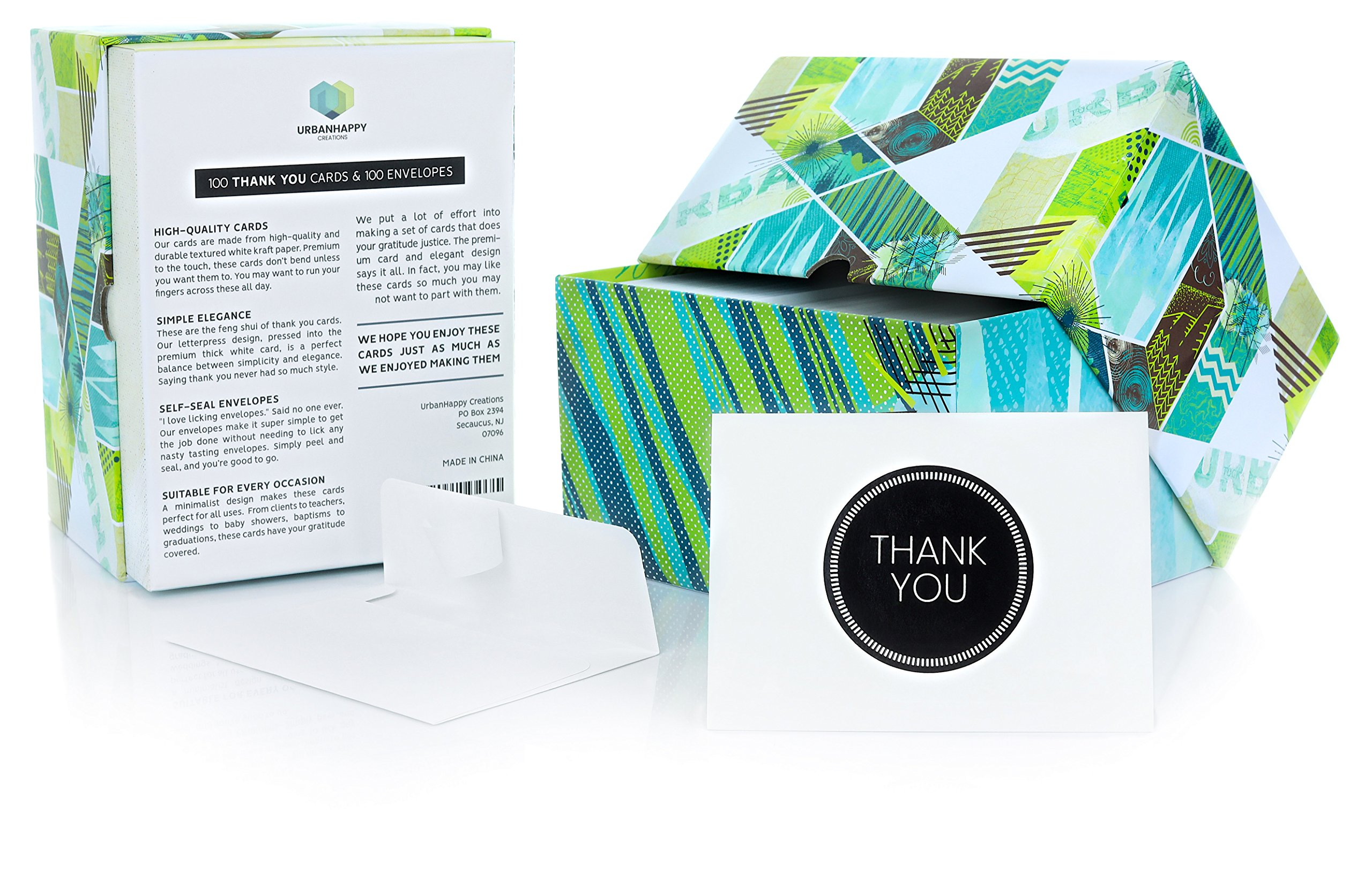 100 Bulk Thank You Cards with Self-Seal Envelopes | Letterpress Printing, Thick Premium Textured Paper | Professional Thank You Notes Perfect for Weddings, Business, Teachers or Graduations
