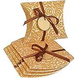 Sigel PB004/5 kleine Pillowboxen 17,5 x 14 x 5,5 cm, 5er Set mit Beflockung, inkl. Geschenkband und Anhänger