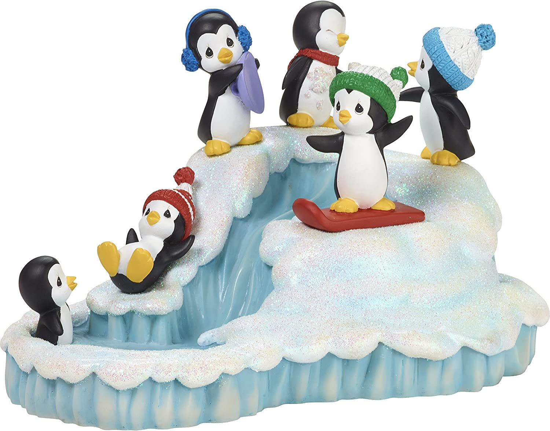 Precious Moments Wonderland Penguins Winter Fun Musical Box, Multicolor