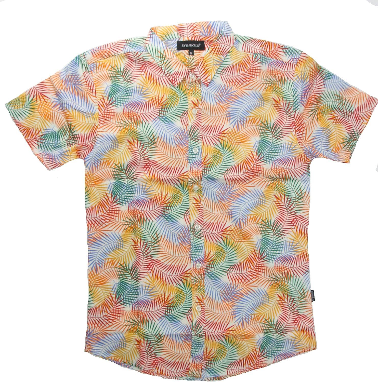 Camisa Trankilo con estampado de plumas multicolores (S): Amazon.es: Ropa y accesorios