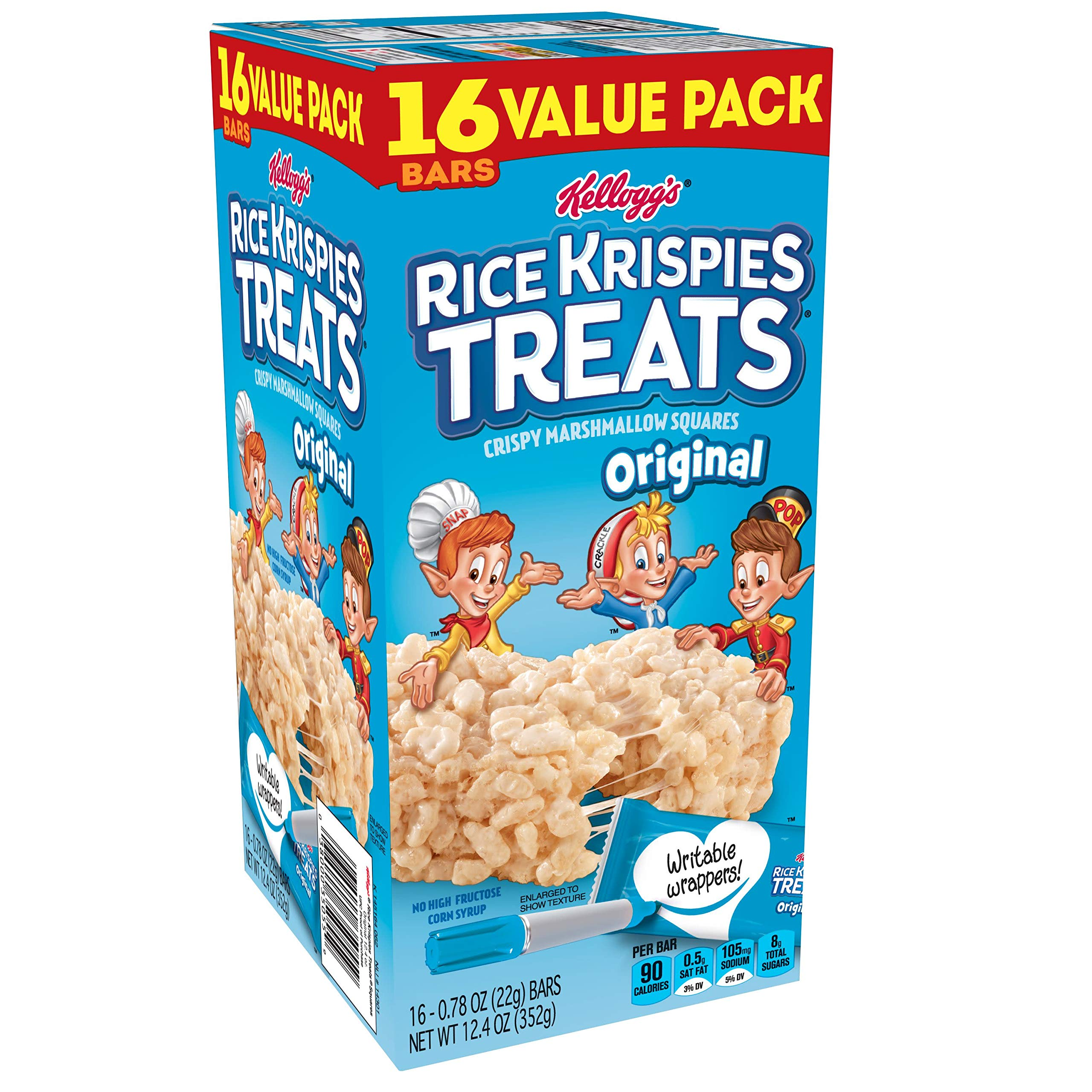 Kellogg's Rice Krispies Treats, Crispy Marshmallow Squares, Original, Value Pack, 0.78 oz Bars (16 Count) by Rice Krispies
