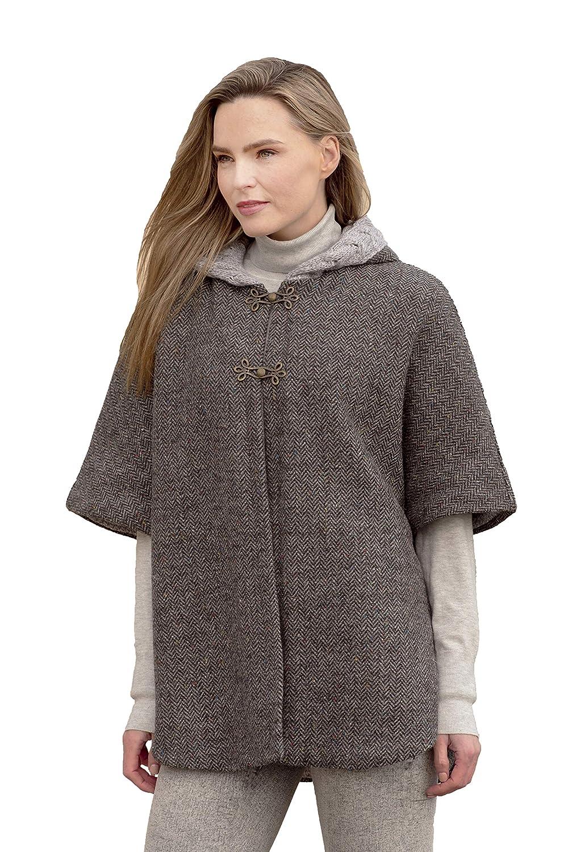 Charcoal Aran Crafts Hooded Tweed Cape with Aran Lining (100% Wool)