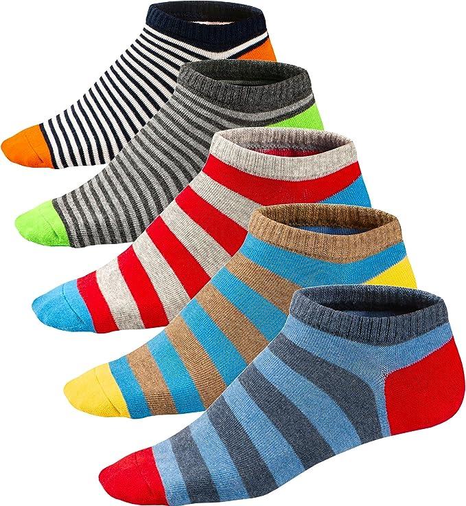Ueither - Calcetines Estampados Hombre Casuales Divertidos Calcetines Corto de Colores con Algodón Fino