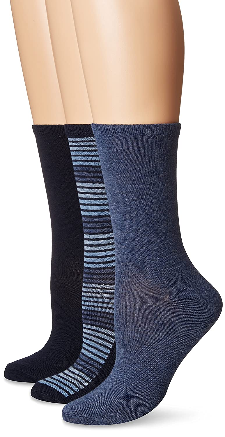 No Nonsense Women's Flat Knit Crew Sock, 3 Pair Pack Assorted 1 4-10 NS6768