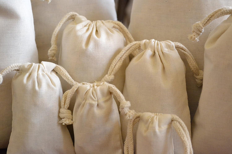 fc803f30ef 3 x 4 Cotton Double Thick Drawstring Muslin Bag Bag. Quantity: 25:  Amazon.ca: Home & Kitchen