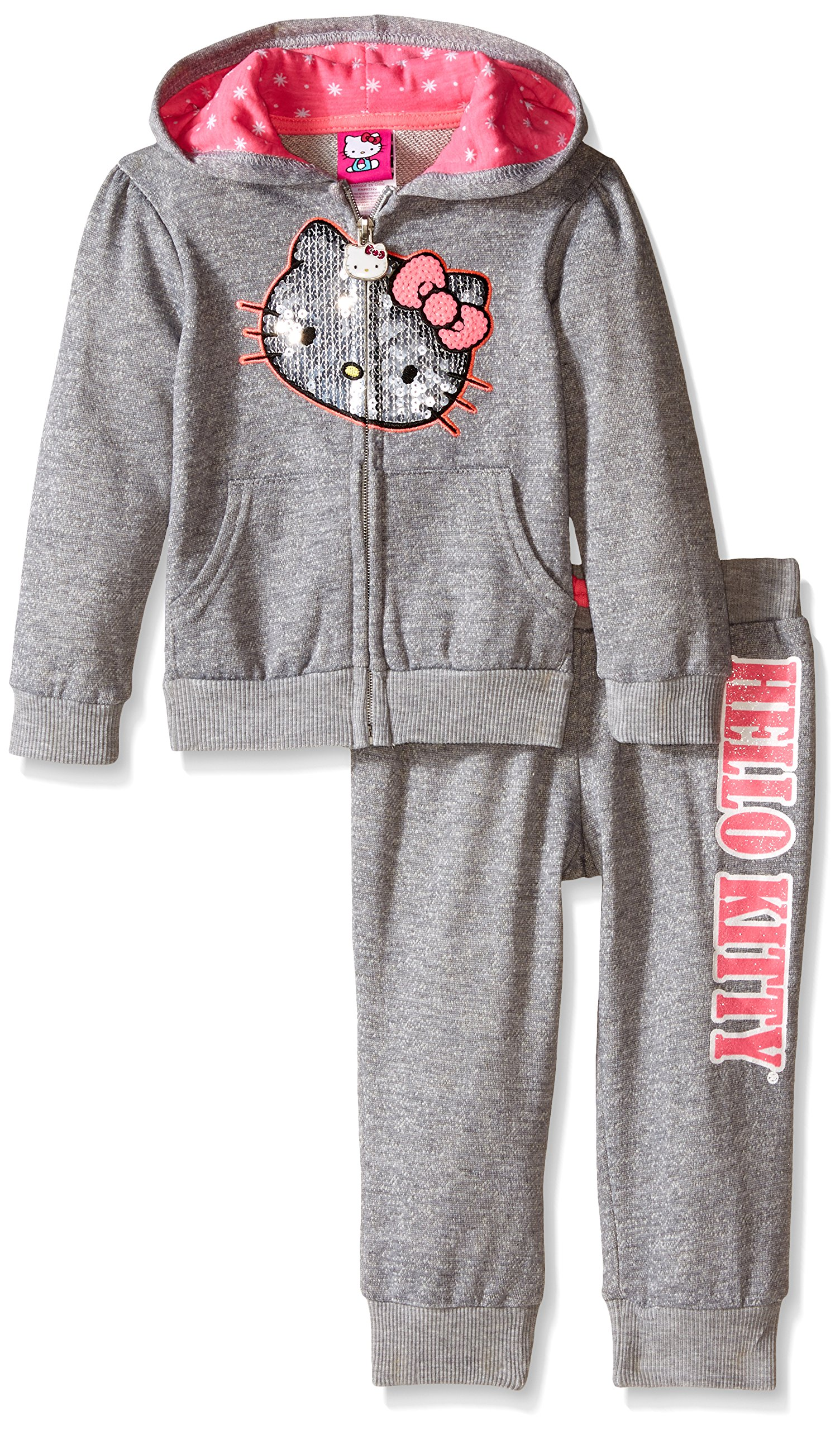 Hello Kitty Little Girls' Toddler 2 Piece Hoodie and Pant Set, Gray/Pink, 2T