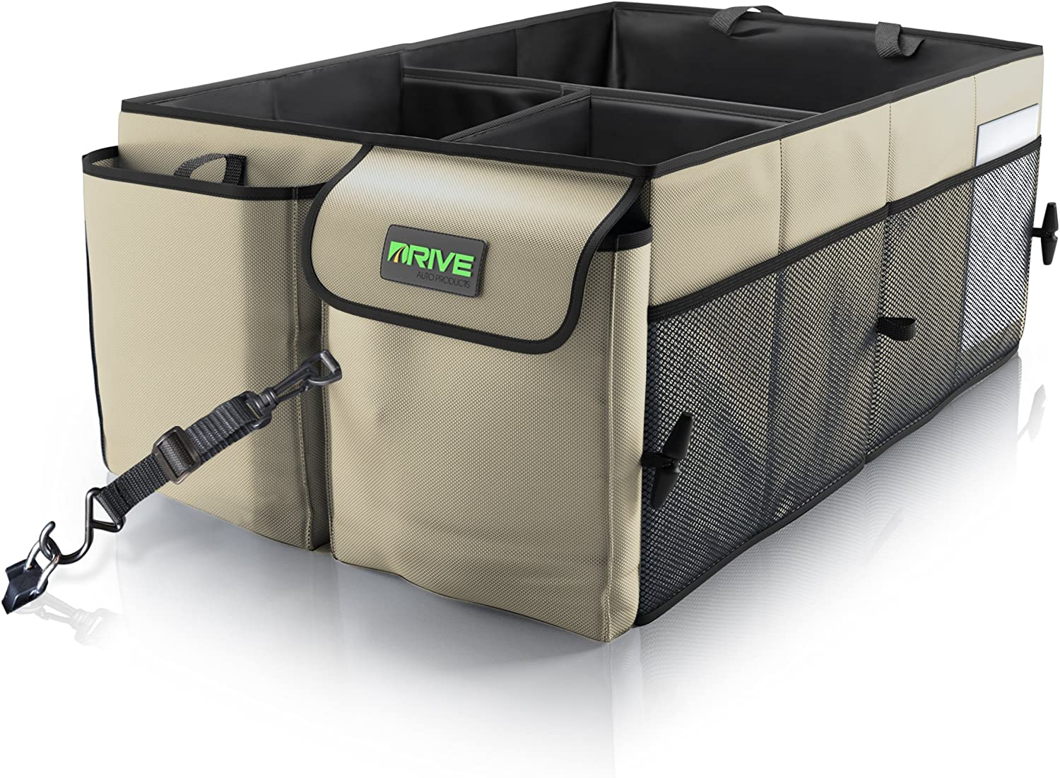 Drive Auto Products Car Cargo Trunk Organizer, Folding Compartments are Easily Expandable to Suit Any in-Vehicle Organization Needs, Secure Tie-Down Strap System, Made of Durable Oxford Fabric (Tan)