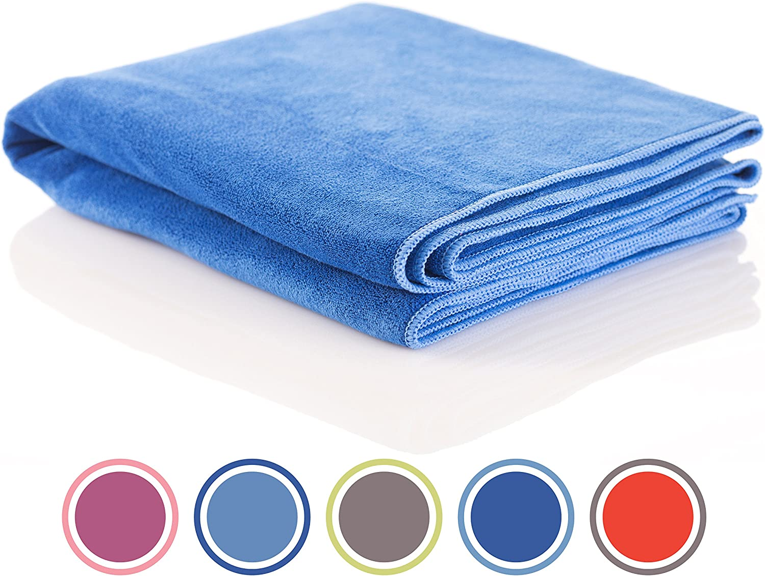Microfiber Sports and Non Slip Hot Yoga Mat Towel - Quick Dry, Soft and Absorbent Gym Towels - Camping, Fitness, Workout, Pilates, Travel or Beach