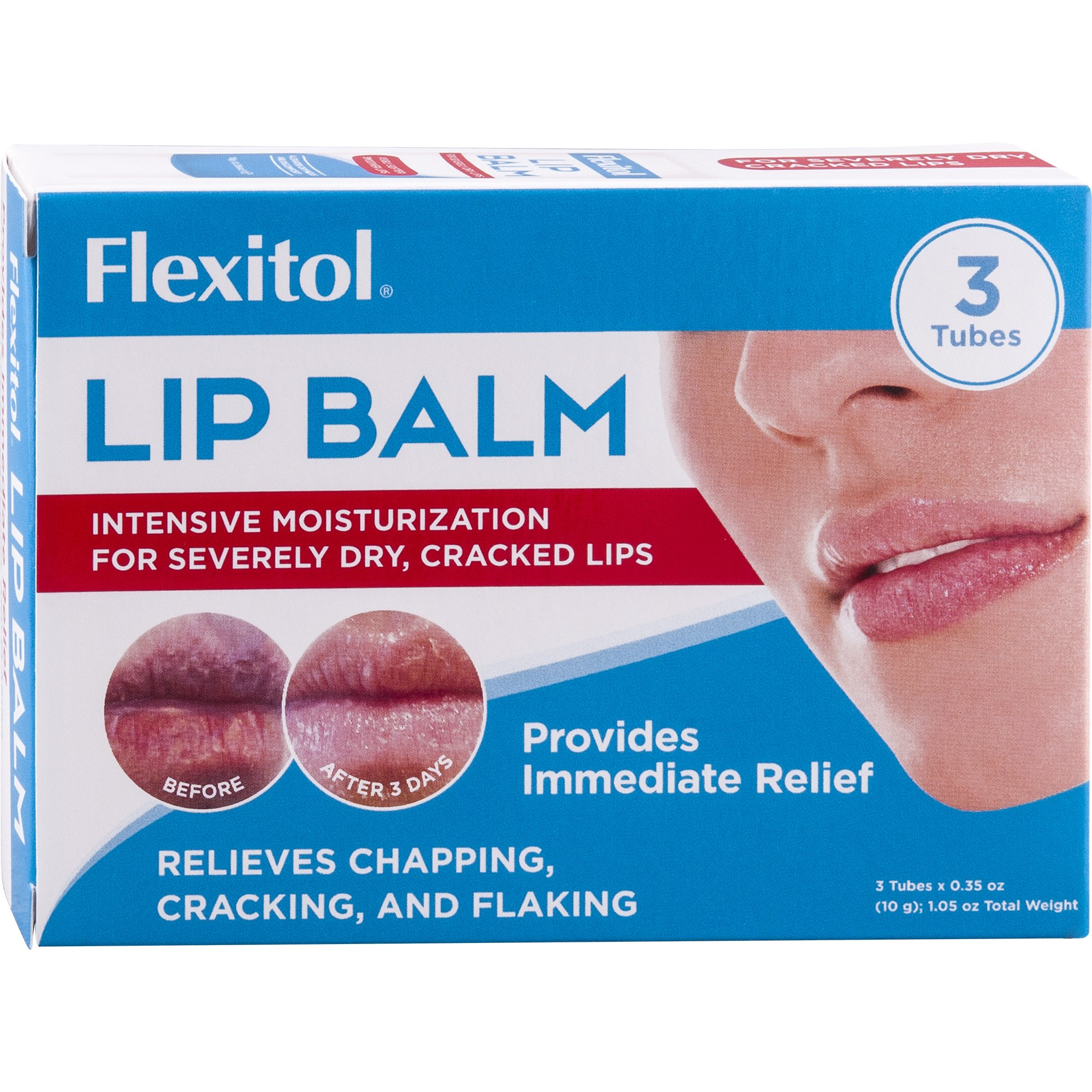 Flexitol Lip Balm, 0.35 Ounce Tube (3 Pack)