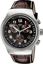 Swatch Mens YOS413 Quartz Stainless Steel Leather Bands Brown Dial Chronograph Luminous Watch