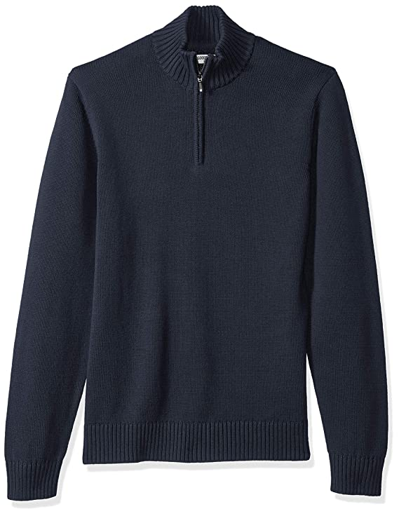 Goodthreads Men's Soft Cotton Quarter Zip Sweater, Solid Navy, X-Small best men's sweaters