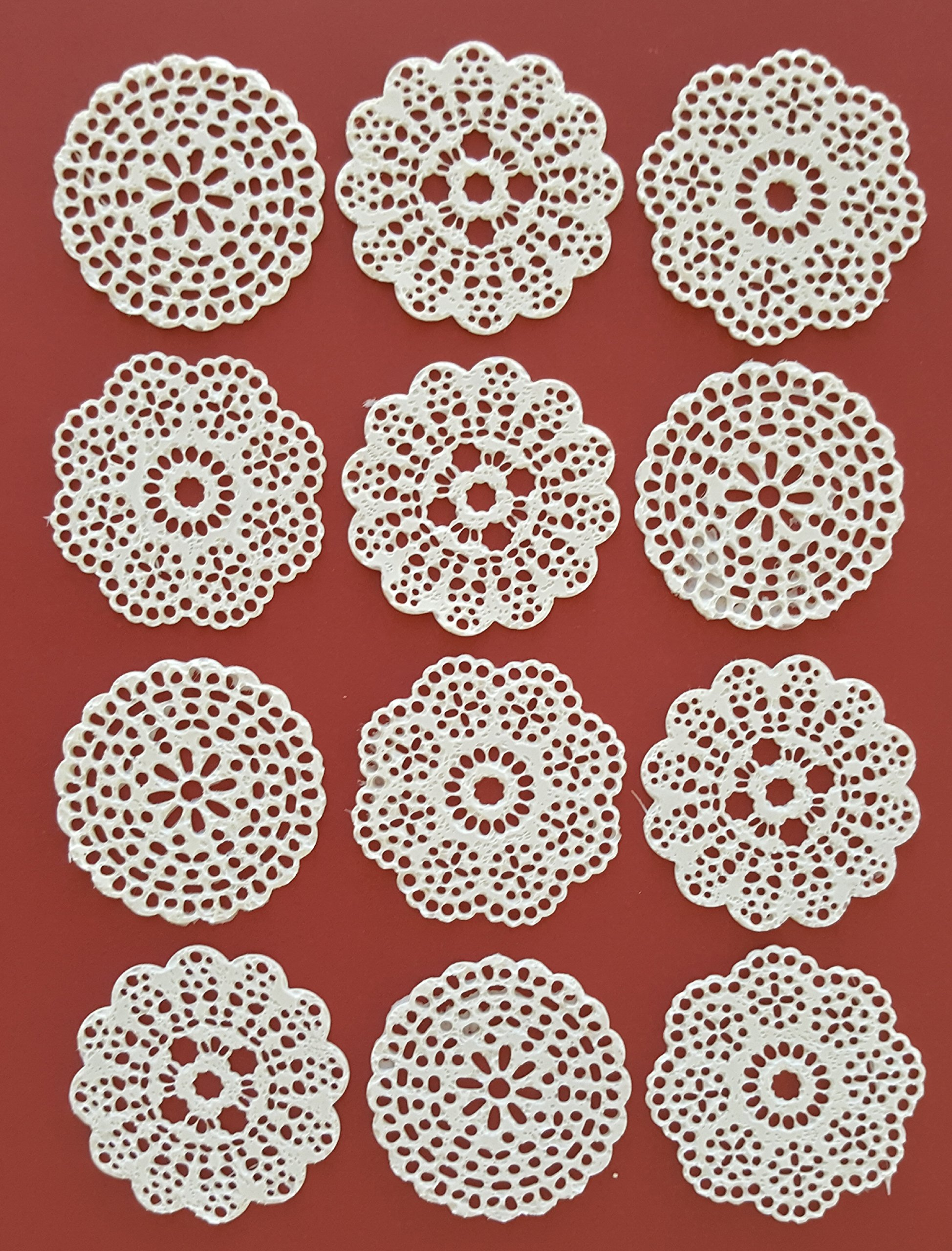 24 PC Edible Lace White Vanilla 3 Designs Rosette Medallion Doily Applique Topper - Cupcake, Cake, Cookie, Chocolate, Coffee, Tea, or any Dessert
