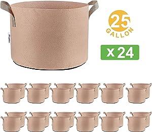 Oppolite 24-Pack 25 Gallon Tan Grow Bags Pots Heavy Duty Fabric Aeration Fabric Pots Grow Bags W/Handles (24, 25 Gallon)