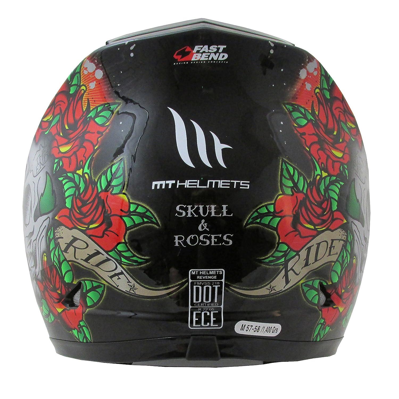 Amazon.es: MT Venganza Cascos Integrales de Moto Motocicleta Bicicleta Calavera y Rosas Gris/Negro M(57-58cm)