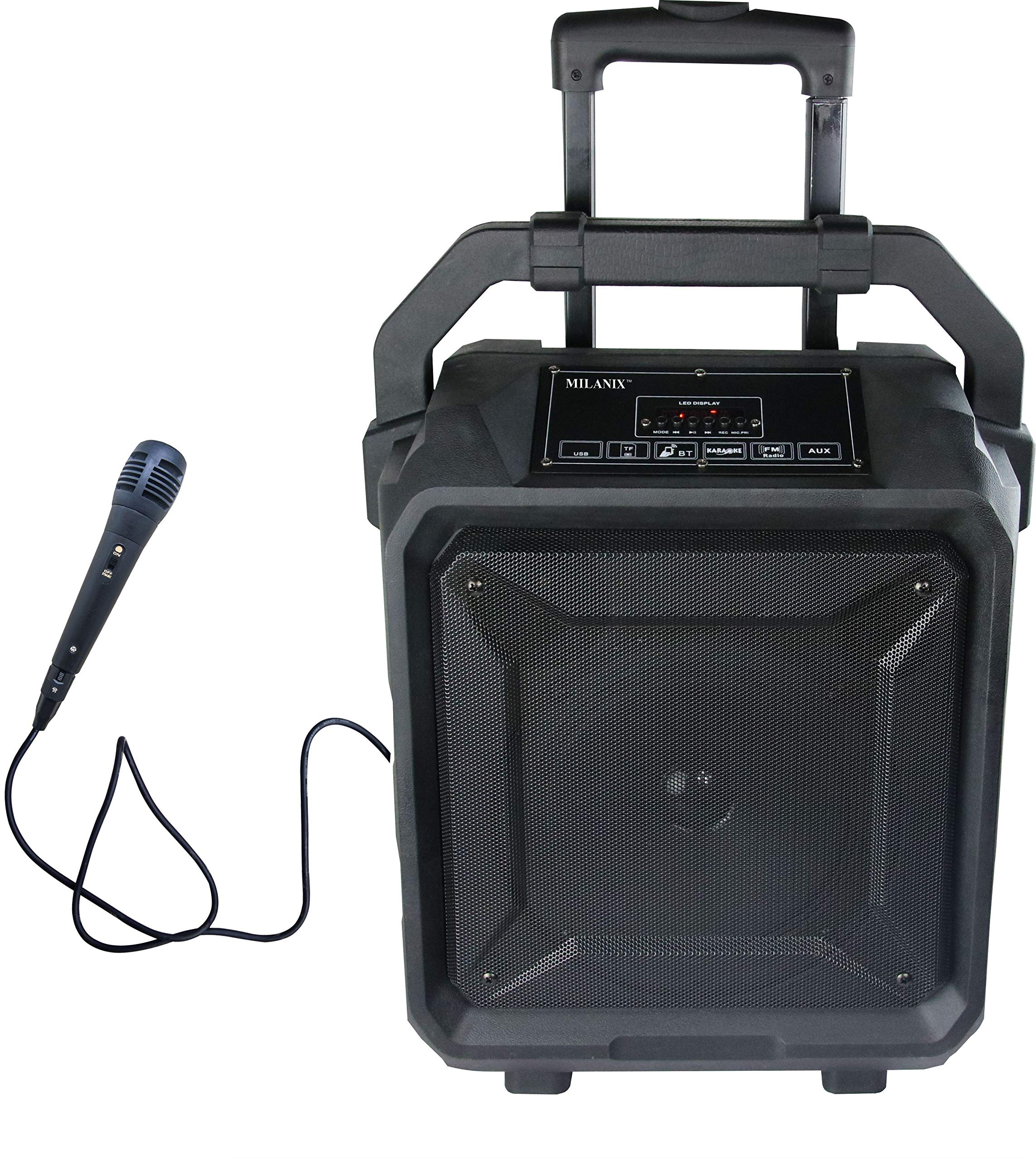 Milanix Tailgate Portable Bluetooth PA Karaoke Speaker with Microphone, USB Charge Port, Guitar Input, SD, MP3, FM, and Recording Ability
