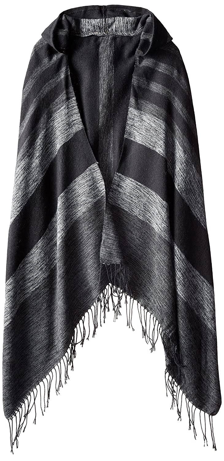 RAMPAGE Women's Striped Blanket Wrap with Hood Black/Grey One Size BWR-29099