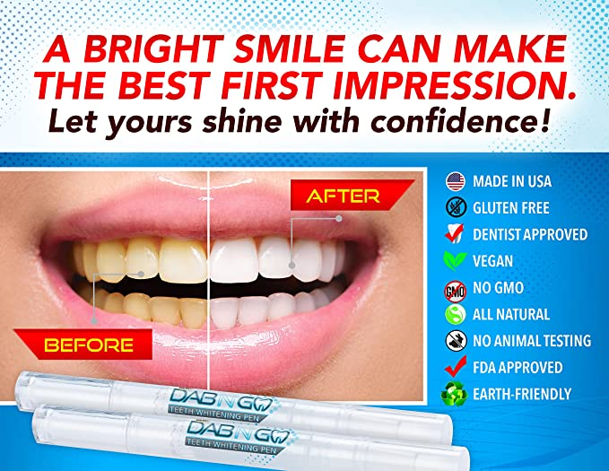 Amazon Com Dab N Go Teeth Whitening Pens 44 Carbamide Peroxide Teeth Whitening Gel 30 Uses Made In Usa Effective No Sensitivity Travel Friendly Easy To Use Beautiful White Smile Natural Mint Flavor