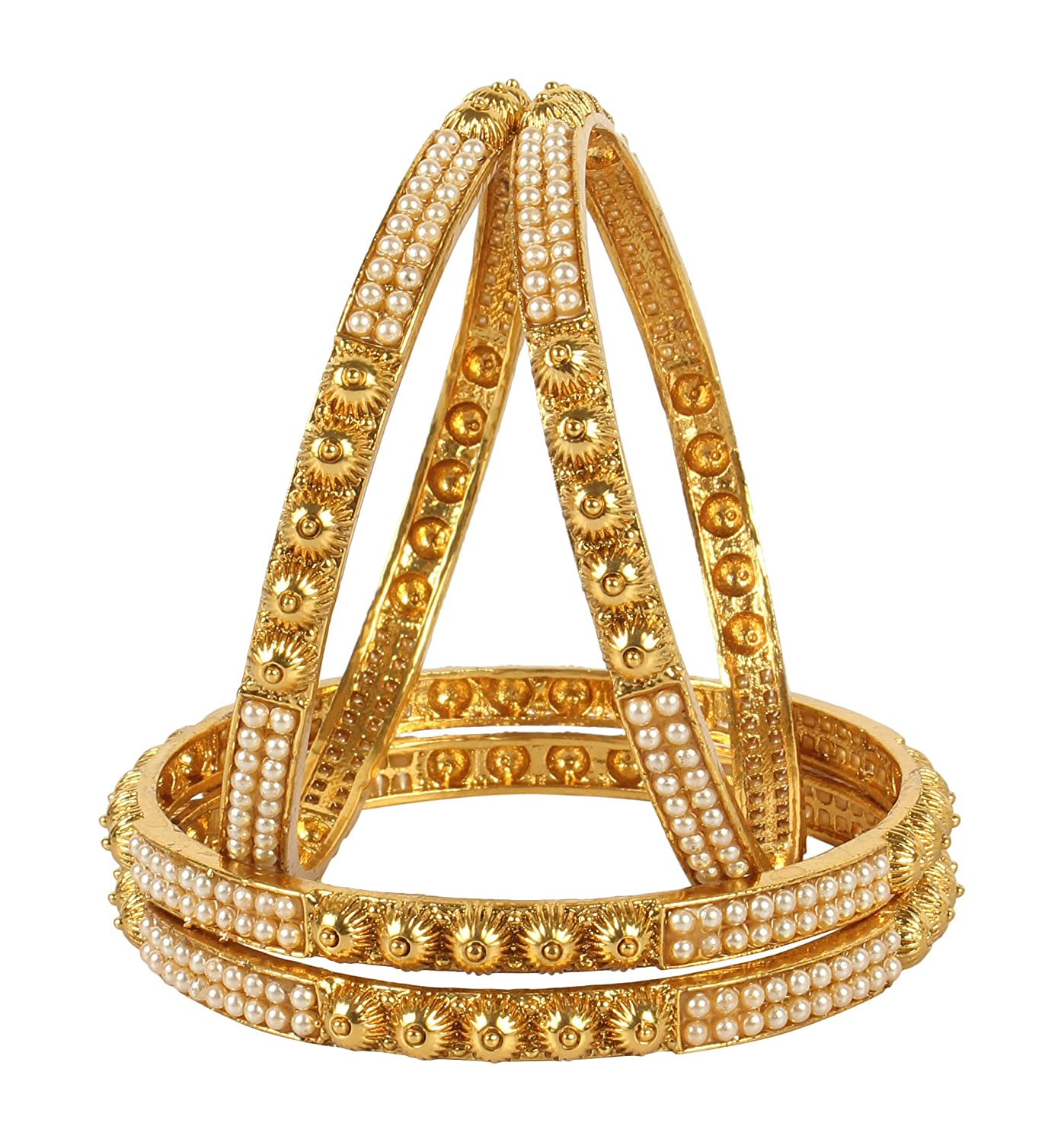 MUCH-MORE Lovely Indian Polki Bangles Traditional Partywear Jewelry 2.4) PB-337