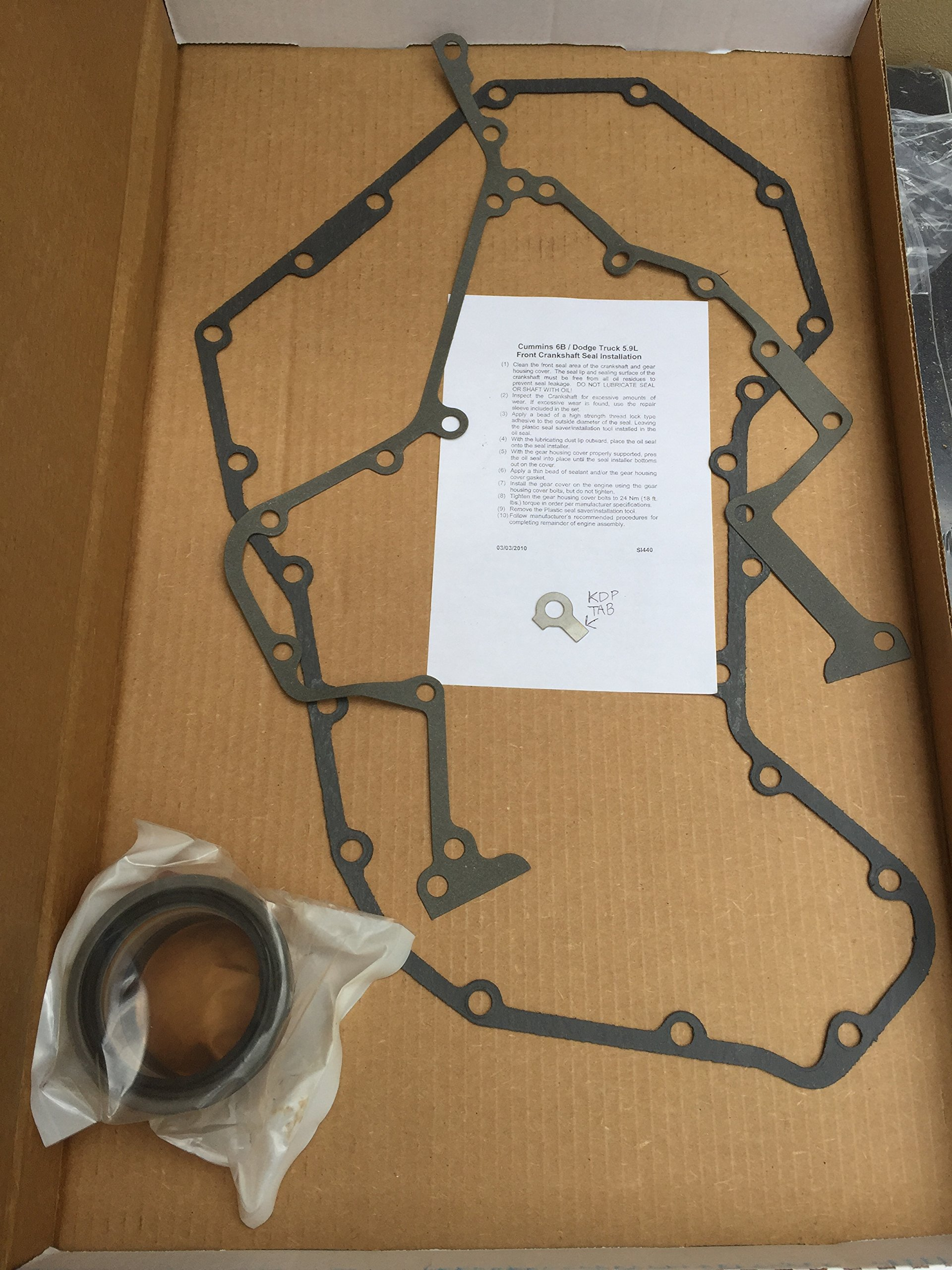 KDP Tab and Timing Cover Gasket Seal Set for P7100 Cummins 94-98 Dodge Ram Engines with Crank Repair Sleeve