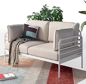 ZINUS Ellen White Metal Loveseat / Steel Framework with Upholstered Cushions / Easy Assembly